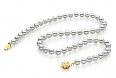 6.5-7mm Hanadama - AAAA Quality Japanese Akoya Cultured Pearl Necklace in Hanadama 18-inch White