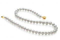 6-9mm Hanadama - AAAA Quality Japanese Akoya Cultured Pearl Necklace in Hanadama 23-inch White