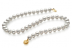 8.5-9mm Hanadama - AAAA Quality Japanese Akoya Cultured Pearl Necklace in Hanadama 18-inch White