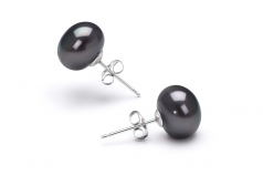 7-8mm AAA Quality Freshwater Cultured Pearl Earring Pair in Black