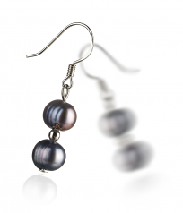 6-7mm A Quality Freshwater Cultured Pearl Earring Pair in Cerella Black