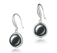 9-10mm AA Quality Freshwater Cultured Pearl Earring Pair in Holly Black