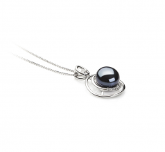 9-10mm AA Quality Freshwater Cultured Pearl Pendant in Kelly Black