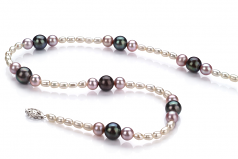 3-8mm A Quality Freshwater Cultured Pearl Necklace in Ida Multicolour