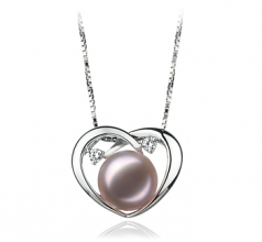 9-10mm AA Quality Freshwater Cultured Pearl Pendant in Katie Heart Lavender
