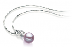 7-8mm AAAA Quality Freshwater Cultured Pearl Pendant in Zalina Lavender
