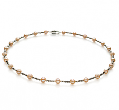 6-7mm A Quality Freshwater Cultured Pearl Necklace in Atina Pink