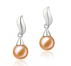 7-8mm AAAA Quality Freshwater Cultured Pearl Earring Pair in Edith Pink