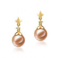 7-8mm AAAA Quality Freshwater Cultured Pearl Earring Pair in Georgia Pink