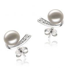 7-8mm AA Quality Freshwater Cultured Pearl Earring Pair in Claudia White