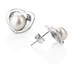 7-8mm AA Quality Freshwater Cultured Pearl Earring Pair in Katie Heart White
