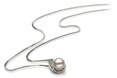 7-8mm AA Quality Freshwater Cultured Pearl Pendant in Claudia White