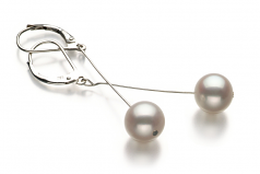 8-9mm AA Quality Freshwater Cultured Pearl Earring Pair in Amy White