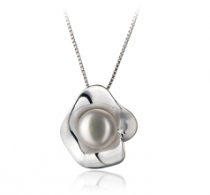 9-10mm AA Quality Freshwater Cultured Pearl Pendant in Rocio White