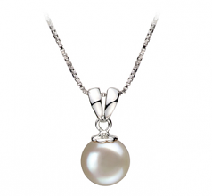 9-10mm AA Quality Freshwater Cultured Pearl Pendant in Sally White