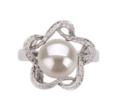 9-10mm AA Quality Freshwater Cultured Pearl Ring in Fiona White