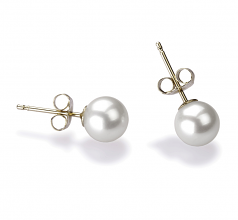 5.5-6mm AAAA Quality Freshwater Cultured Pearl Earring Pair in White