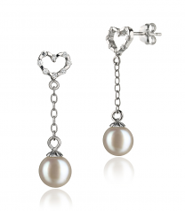 6-7mm AAAA Quality Freshwater Cultured Pearl Earring Pair in Hedda White