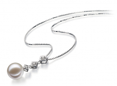 9-10mm AAAA Quality Freshwater Cultured Pearl Pendant in Rozene White