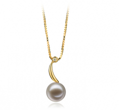 9-10mm AAAA Quality Freshwater Cultured Pearl Pendant in Sora White