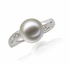9-10mm AAAA Quality Freshwater Cultured Pearl Ring in Caroline White