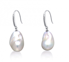 14-15mm AA+ Quality Freshwater - Edison Cultured Pearl Earring Pair in White