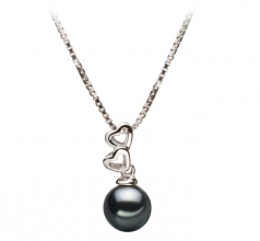 6-7mm AA Quality Japanese Akoya Cultured Pearl Pendant in Amber Black