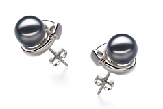 7-8mm AA Quality Japanese Akoya Cultured Pearl Earring Pair in Angelina Black