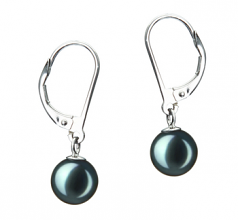 7-8mm AA Quality Japanese Akoya Cultured Pearl Earring Pair in Marcella Black