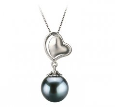 8-9mm AA Quality Japanese Akoya Cultured Pearl Pendant in Cora Black