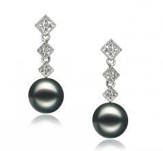 8-9mm AAA Quality Japanese Akoya Cultured Pearl Earring Pair in Rozene Black