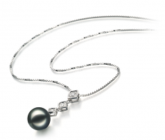 8-9mm AAA Quality Japanese Akoya Cultured Pearl Pendant in Rozene Black