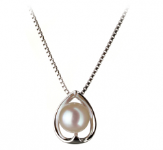 6-7mm AA Quality Japanese Akoya Cultured Pearl Pendant in Amanda White