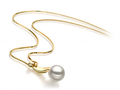 8-9mm AAA Quality Japanese Akoya Cultured Pearl Pendant in Sora White