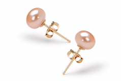 6-7mm AAA Quality Freshwater Cultured Pearl Earring Pair in Pink
