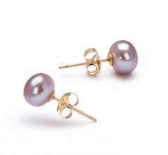 6-7mm AAA Quality Freshwater Cultured Pearl Earring Pair in Lavender