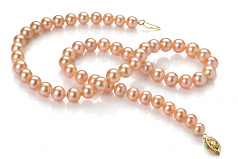 6-7mm AA Quality Freshwater Cultured Pearl Set in Pink