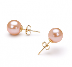 7-8mm AAAA Quality Freshwater Cultured Pearl Earring Pair in Pink