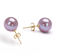 9-10mm AAAA Quality Freshwater Cultured Pearl Earring Pair in Lavender