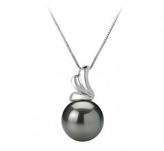 10-10.5mm AAA Quality Tahitian Cultured Pearl Pendant in Amara Black