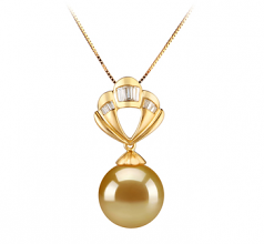 12-13mm AAA Quality South Sea Cultured Pearl Pendant in Helena Gold