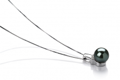 8-9mm AAA Quality Tahitian Cultured Pearl Pendant in Vivian Black
