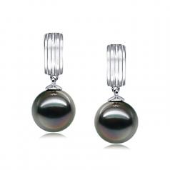 9-10mm AAA Quality Tahitian Cultured Pearl Earring Pair in Kiyam Black