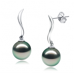 9-10mm AAA Quality Tahitian Cultured Pearl Earring Pair in Mystical Black