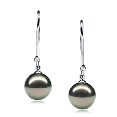 9-10mm AAA Quality Tahitian Cultured Pearl Earring Pair in Simplicity Dangle Black