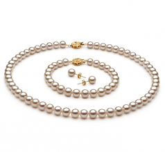 6-7mm AAAA Quality Freshwater Cultured Pearl Set in White