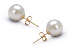 9-10mm AAAA Quality Freshwater Cultured Pearl Earring Pair in White