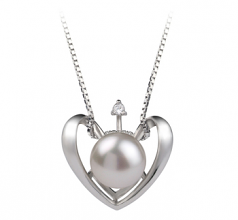9-10mm AA Quality Freshwater Cultured Pearl Pendant in Heart White