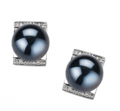 8-9mm AA Quality Japanese Akoya Cultured Pearl Earring Pair in Francine Black