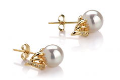 8-9mm AAA Quality Japanese Akoya Cultured Pearl Earring Pair in Anastasia White
